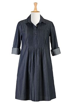 Pintucked bib chambray trapeze dress
