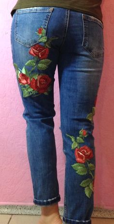 Old Jeans and Blouse Make-Over Using Machine Embroidery