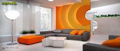 Pomarańczowe nowoczesne projekty salonów - galeria zdjęć aranżacji i projektów - inspireMe.pl