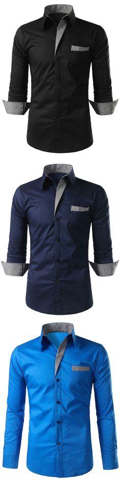$12.16,Rosewholesale Plaid-trim Long Sleeve Shirt for men | Rosewholesale. rosewholesale for men, shirts, mens outfit | #rosewholesale #shirts #falloutfits