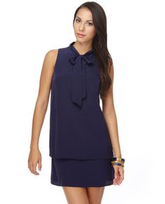 Navy Dress... add a cardigan & some tights for the fall and you're ready to go... wish list for sure.