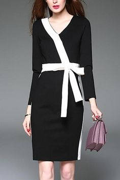 BelleGal charsu Chanel's Style Black-white Patchwork Cotton Knee Length Dress