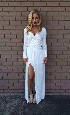White Del Rio Long Sleeve Dress