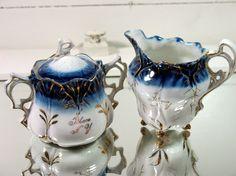 Flow Blue China Sugar & Creamer Set  Souvenir of by DivineOrders, $24.00