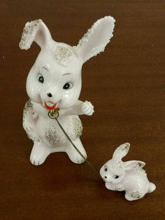 Vintage Pink Porcelain Rabbit Bunny With Chain Child and Mom Japan