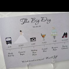 what to put in wedding welcome bags | Wedding day time line to put in guest welcome bags