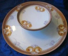 Very fine piece by one of the best German makers. Fabulous rose motif in attractive gold and lavender. No one will have seen something like this when used at your party.