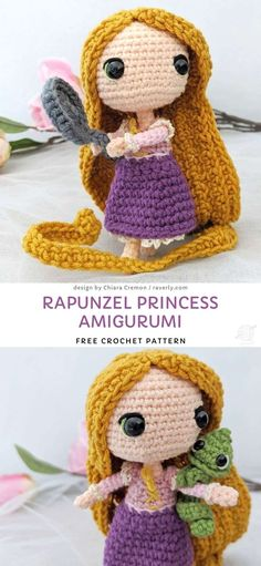 Rapunzel Princess Amigurumi Free Crochet Pattern - - Such beautiful amigurumi doll will be an amazing gift for little girls, as it's even more stunning than barbie! Doll Amigurumi Free Pattern, Crochet Dolls Free Patterns, Amigurumi Doll, Knitting Patterns, Crochet Dinosaur Patterns, Crochet Pattern Free, Scarf Patterns, Cute Crochet, Crochet Toys