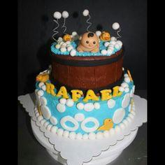 Christening cake  #handmade #fondant #cake #caketopper #babybath #baby #cute