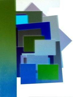 formes gomtriques bleu vert sur fond blanc by jean luc perrault