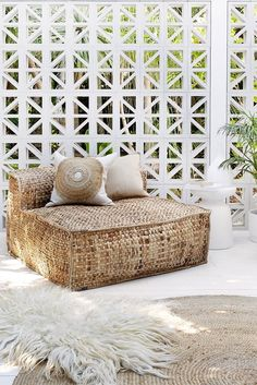 Uniqwa's new Masekela Oversized Loungers, made from sustainable water hyacinth! Perfect for outdoor living ♡♡♡. Also featuring our ➳ Akoni Side Table and our ➳ organic wool, animal friendly, leather free Sheeprug by Style At Home, Exterior Design, Interior And Exterior, Wall Exterior, Interior Garden, Outdoor Spaces, Outdoor Living, Outdoor Tables, Home And Deco