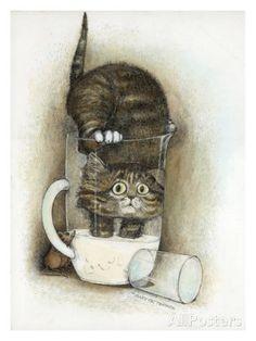Nieuwsgierigheid, poster van kat met daarbij tekst: Curiosity Gicléedruk van Gary Patterson bij AllPosters.nl