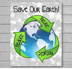 This printable Earth Day poster reminds students to save our planet by reducing, reusing and recycling. It works well in science classroom centers or stations for quick and easy classroom decor. The sign features a silver stars background, the planet, and Save Planet Earth, Save Our Earth, Save Earth Posters, Poster On Earth Day, Science Classroom Decorations, Recycling Information, Save Environment, Reduce Reuse Recycle, Earth Science
