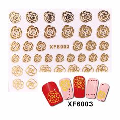 [Visit to Buy] FWC 3D Nail Stickers Beauty Gold Design Brand Nail Art Charms Manicure Bronzing Decals Decorations Tools  6003 #Advertisement