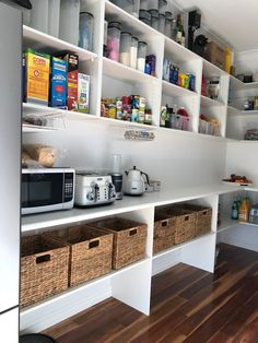 We added some shelves to our walk-in-pantry - Home Professional Decoration Pantry Laundry Room, Pantry Cupboard, Pantry Shelving, Pantry Closet, Pantry Storage, Walk In Pantry, Kitchen Storage, Cupboard Ideas, Shelving Ideas