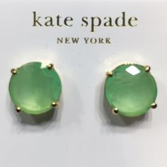 Kate Spade earrings Gorgeous mint colored Kate Spade earrings. Gold tone hardware. Comes with KS jewelry pouch. NWT. Bundle to save more! No trades please! kate spade Jewelry Earrings