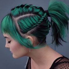green ombre braided ponytails hairstyle long, ponytail hairstyle easy, Medium hairstyle, pony… - All For Hairstyles DIY Long Ponytail Hairstyles, Straight Hairstyles, Cool Hairstyles, Hair Ponytail, Pirate Hairstyles, Hairstyle Ideas, 1920s Hairstyles, Hairstyle Photos, Teenage Hairstyles