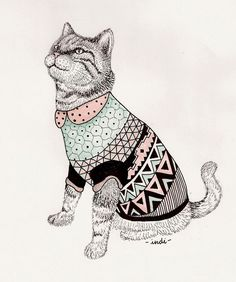 illustration, animal, cat, patterns, triangle