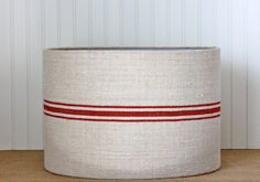Grain Sack Drum Lampshade  Red by Sassyshades on Etsy, $115.00