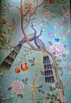 Frame portion of wallpaper instead of painting. Love their colours and exotic elegance. Report from Paris Deco Off Chinoiserie Wallpaper, Chinoiserie Chic, Fabric Wallpaper, Wall Wallpaper, Peacock Wallpaper, De Gournay Wallpaper, Oriental Wallpaper, Chinoiserie Fabric, French Wallpaper