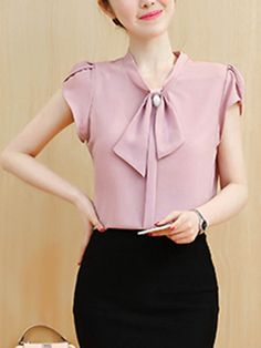 Buy Decorative Button Plain Petal Sleeve Blouse online with cheap prices and discover fashion Blouses at Fashionmia.com.