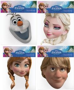 This four pack of Disney Frozen Costume Masks-Olaf, Anna, Elsa and Kristoff is pefect fora child's dress up box or for finishing off a homemade Frozen costume.