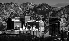 Salt Lake City Downtown Sunset, Wasatch Mountains, Winter, City Lights, Temple Square, Reflection, Fine Art Photo Print, Home Wall Decor by Ultimateplaces on Etsy