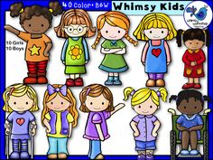 New Clip Art Sets! You get 10 whimsical boys AND 10 girls in this big bundle of cuties! See them all at Whimsy Workshop Teaching! http://whimsyworkshop.blogspot.ca/p/clipart.html