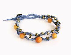 Macrame Bracelet - 2 strand, peach orange calcite, brass beads, brass button, blue hemp - hippie bracelet, boho bracelet, hemp bracelet - Liminal Horizons - liminalhorizons
