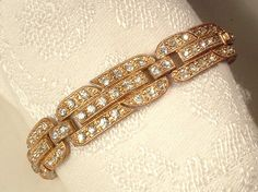 Authentic Art Deco Clear Rhinestone Gold Wide Link Flapper Bracelet, Vintage 1920s Gold Pave Crystal Bridal Bracelet, Great Gatsby Jewelry