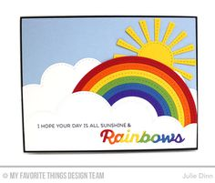 Rainbow of Happiness, Color the Rainbow Die-namics, Stitched Cloud Edges Die-namics, Stitched Rainbow Die-namics, Sunny Skies Die-namics - Julie Dinn  #mftstamps