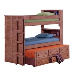 Chelsea Home Twin Over Twin Standard Bunk Bed with Trundle Unit and Bookcase
