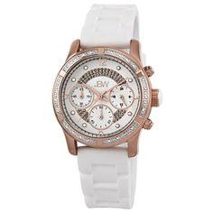 "JBW Women's JB-6243-J ""Venus"" Sport Rose Gold White Designer Silicone Diamond Watch"