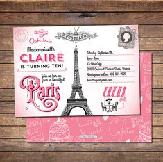 Paris Themed Party Invitation | Printable | Girls Pink Paris Birthday Party Invite with Eiffel Tower | Decorations and Party Pack Available by thepartystork on Etsy -- we ordered this for MG's 9th birthday and it was BEAUTIFUL!!!  They customized the wording for us, and we got so many compliments from the girls who received one.  Very pleased!
