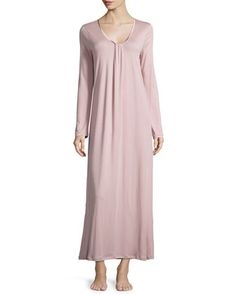 Astrid Long-Sleeve Knit Gown, Rose Dust by Hanro at Neiman Marcus.