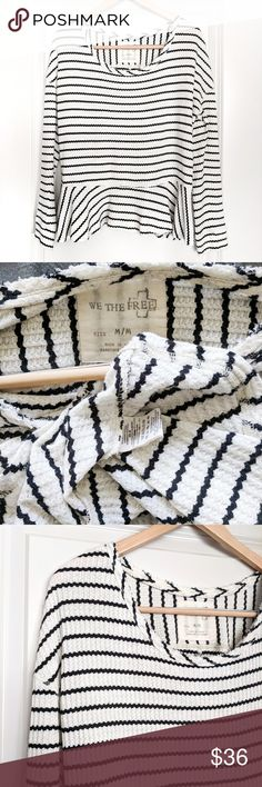 Free People striped thermal peplum top Free People ivory white & black striped long sleeve thermal peplum top, size medium. - boat cut neckline - EUC, gently worn condition:) Free People Tops Blouses