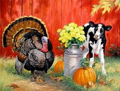 Linda Picken Art Studio / Turkey and Calf with Pumpkin. Art And Illustration, Decoupage Vintage, Farm Images, Chicken Painting, Arte Country, Thanksgiving Art, Autumn Scenes, Farm Art, Cow Art