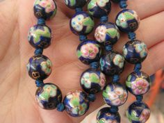 Vintage Cloisonne Bead Necklace / Hand Knotted Cloisonne beads Necklace / cobalt blue enameled Painted Beads