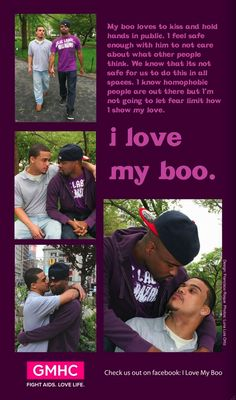 Gay Men's Health Crisis (GMHC) is re-launching their brilliant 'I Love My Boo' Campaign prominently featuring African-American and Latino. Social Marketing Campaigns, Nyc Subway, My Boo, Gay Couple, Out Loud, Other People, Brooklyn, No Response, Relationship