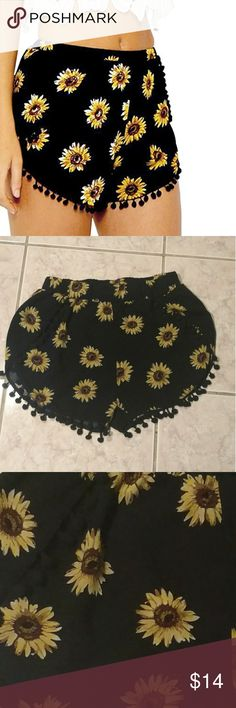 Cute Sunflower shorts Black flowy/stretchy sunflower romper-like shorts with stretch waist. Very cute and comfortable Shorts