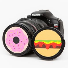 A juicy burger or delish donut protect your lens from scratches and add a bit of fun to your favorite gear. *Warning* Snack caps are not guaranteed to protect your lenses from being licked. In fact, they just might invite it. Yummy. Yummy.