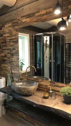 Stone Bathroom Sink, Natural Stone Bathroom, Stone Sink, River Rock Bathroom, Rustic Bathroom Sinks, Rustic Bathroom Designs, Bathroom Interior Design, Downstairs Bathroom, Dream Bathrooms