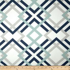 Navy Grey & Aqua Designer Home Decor Fabric by the by CottonCircle