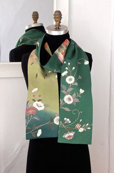 Silk Kimono Scarf, Amazing Japanese Vintage Versitile Scarf, Vintage Yuzen-dyed Silk, Chrysanthemum, Green
