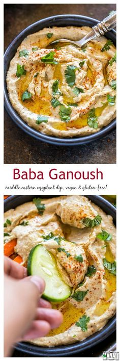 Baba Ganoush is a popular Middle Eastern eggplant dip. Enjoy it with fresh veget… Baba Ganoush is a popular Middle Eastern eggplant dip. Enjoy it with fresh vegetables or pita bread. Lebanese Recipes, Turkish Recipes, Greek Recipes, Indian Food Recipes, Whole Food Recipes, Vegan Recipes, Cooking Recipes, Ethnic Recipes, Syrian Recipes