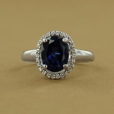 Sterling Silver Rhodium-Plated Created Sapphire and Cubic Zirconia Oval Ring $149.00 #jewelry