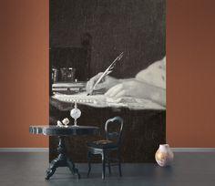 Collection SO WALL 2 : papier-peint, jeune femme, écriture, noir et blanc