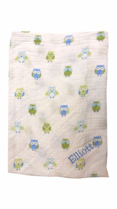 """100% pure cotton muslin, pre-washed for softness and suitable for all seasons. Swaddle blanket is sized to 'grow with' baby for a custom fit every time.  47"""" x 47"""". A Little Bit Of This Muslin Boy Owl Blanket. Click the image to get more information about the product, including personalization options, at our online store!"""