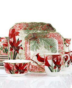222 Fifth Dinnerware, Christmas Foliage 16 Piece Set | Xmas and ...