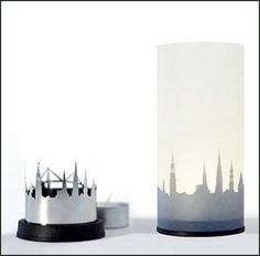 Abajour decorativo com perfil de Stadtlicht Wien Candle Holders, Box, Candles, Material, Shopping, Vienna, Paper, City Lights, Pedestal